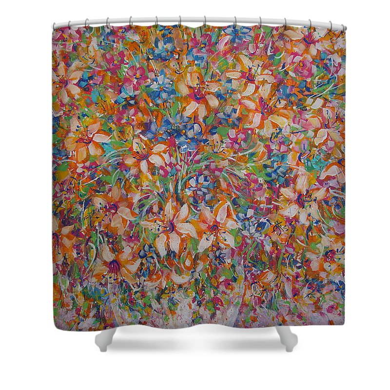 Flowers Shower Curtain featuring the painting Flower Galaxy by Natalie Holland