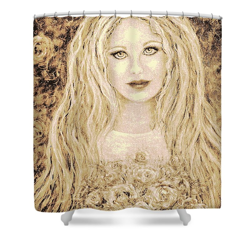 Portrait Shower Curtain featuring the painting Flowers For You by Natalie Holland