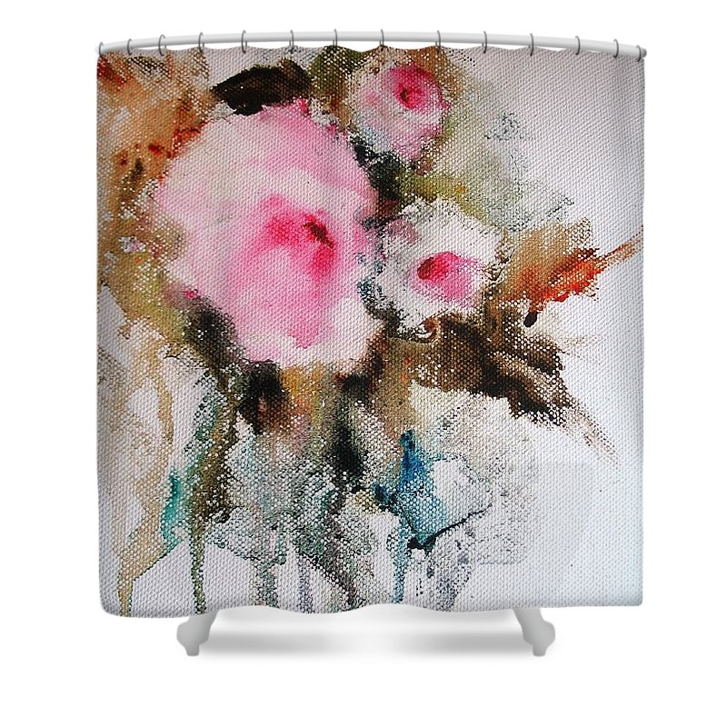 Floral Shower Curtain featuring the painting Flowers by Vesna Grundler