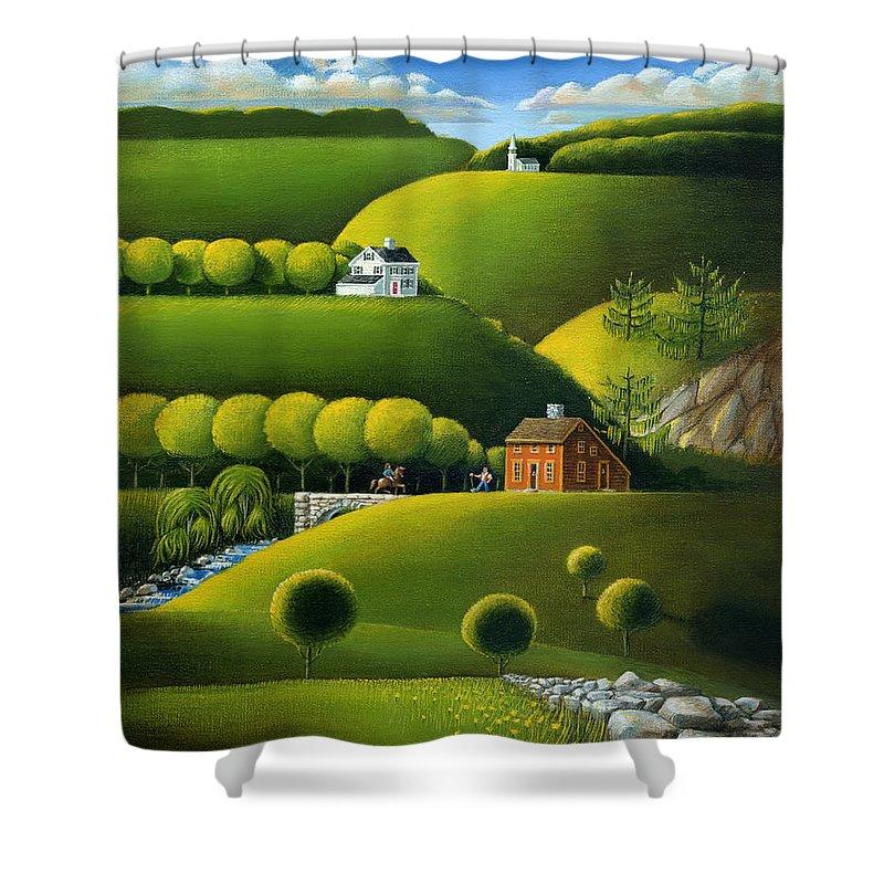 Deecken Shower Curtain featuring the painting Foothills Of The Berkshires by John Deecken