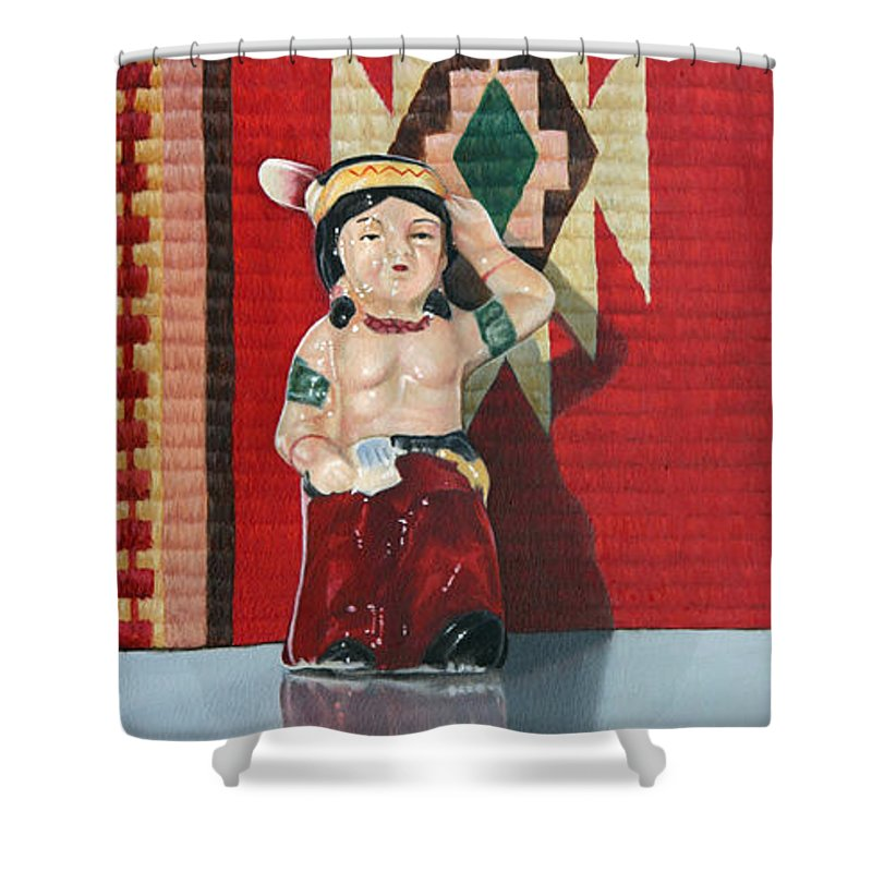 American Indian Shower Curtain featuring the painting Forever Brave by K Henderson