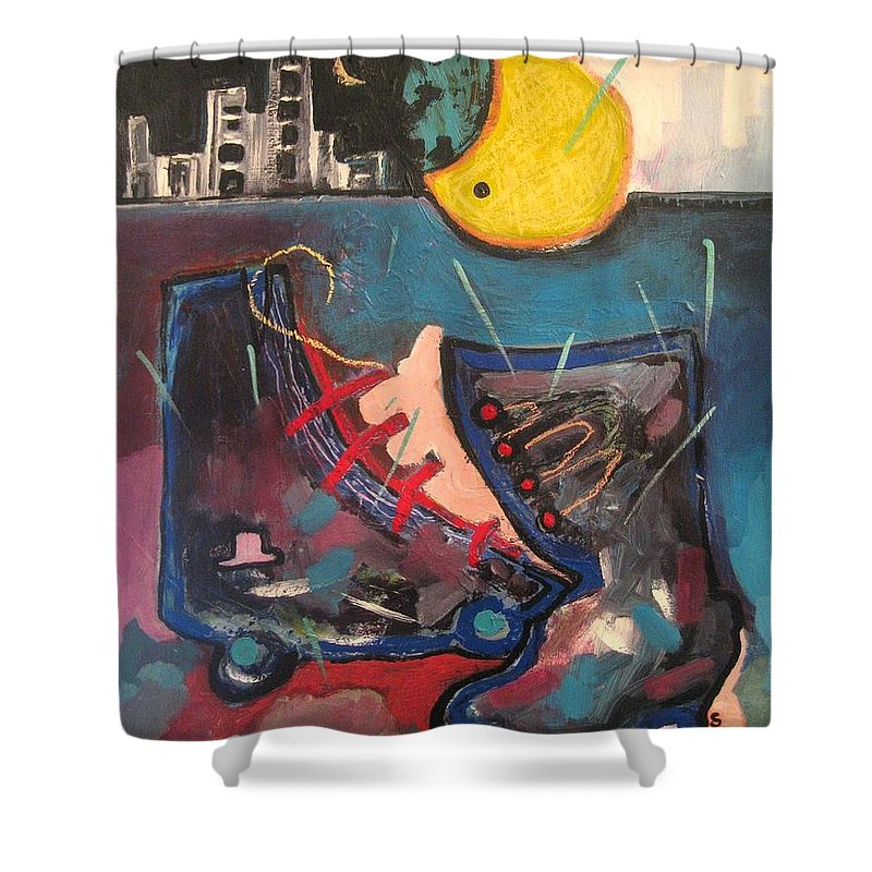 Abstract Paintings Shower Curtain featuring the painting Forgotten Days by Seon-Jeong Kim