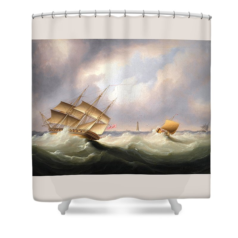 James Edward Buttersworth Shower Curtain featuring the painting Frigate Off A Lighthouse by James Edward Buttersworth
