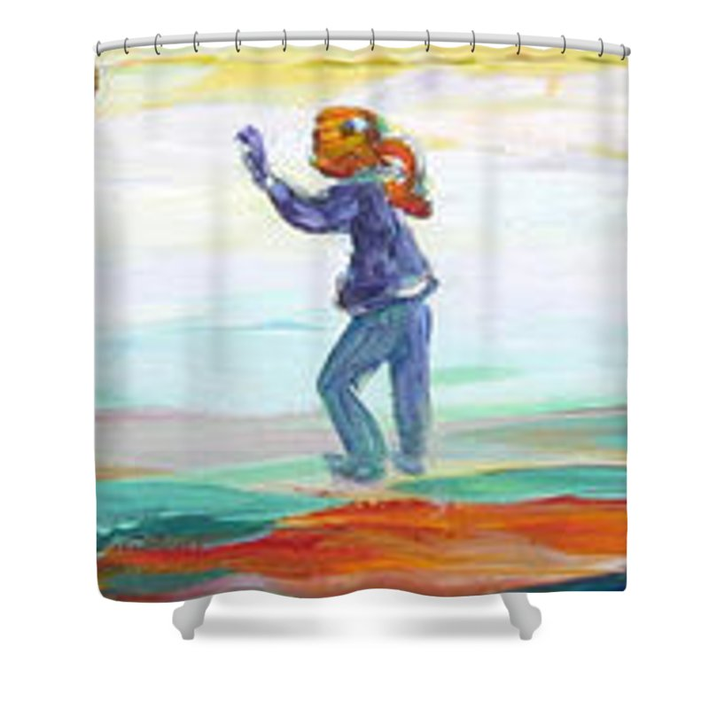 Kids Flying Kites And Playing Soccer In The Park Shower Curtain featuring the painting Fun In The Park by Naomi Gerrard