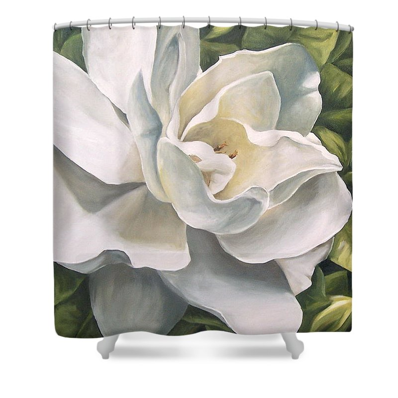 Flower Shower Curtain featuring the painting Gardenia by Natalia Tejera