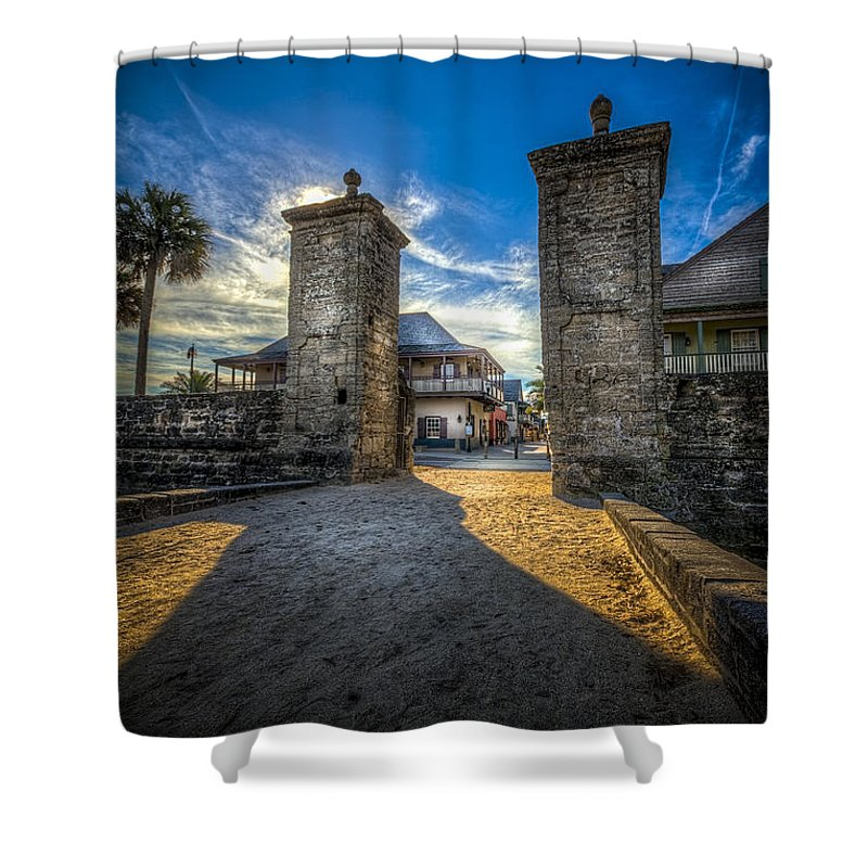 Fort Shower Curtain featuring the photograph Gate To The City 2 by Marvin Spates