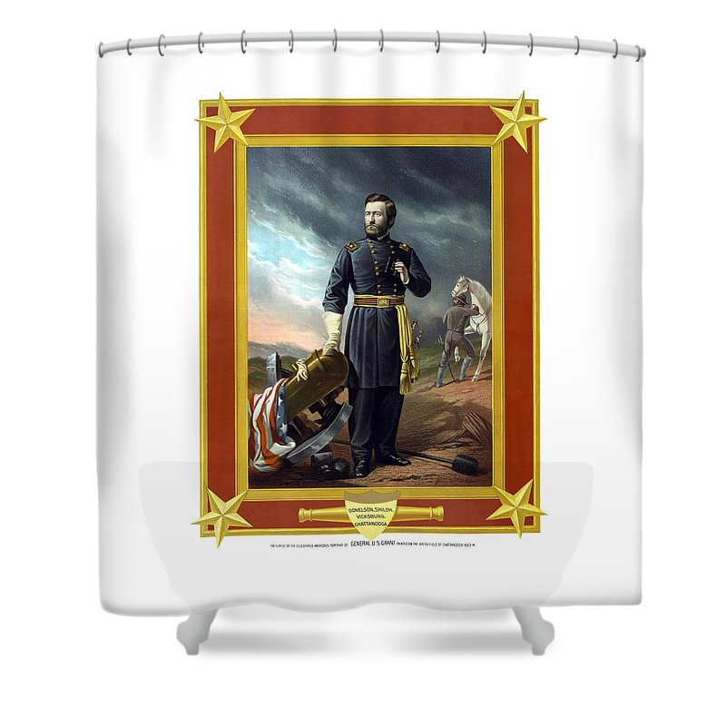 Civil War Shower Curtain featuring the painting General Us Grant by War Is Hell Store