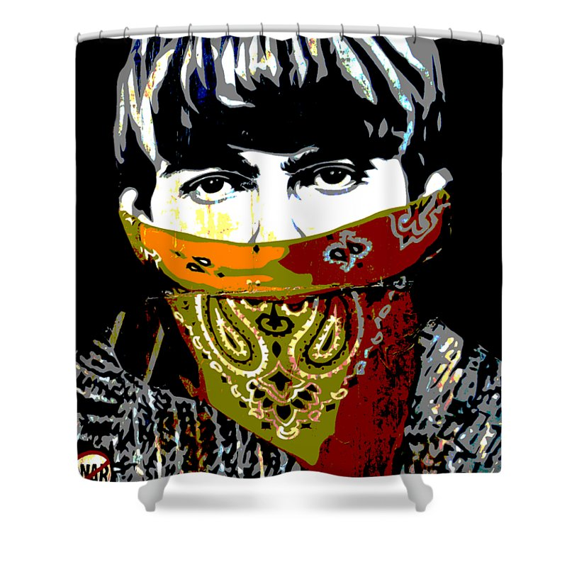 Banksy Shower Curtain featuring the photograph George Harrison wearing a face mask by RicardMN Photography