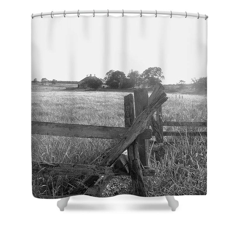 Gettysburg Shower Curtain featuring the painting Gettysburg Landscape by Eric Schiabor