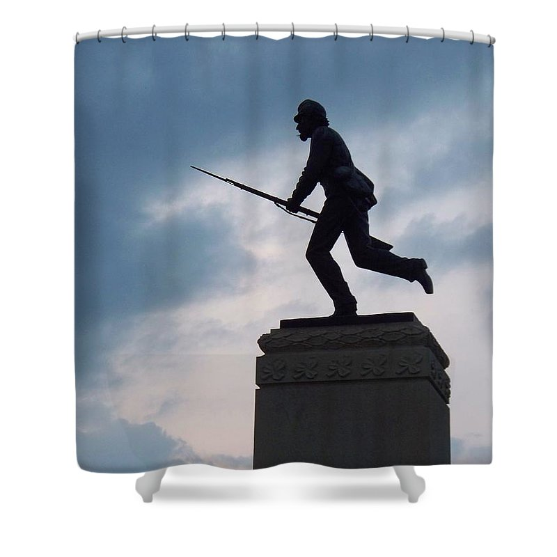 Minnesota Shower Curtain featuring the photograph Gettysburg Statue by Eric Schiabor