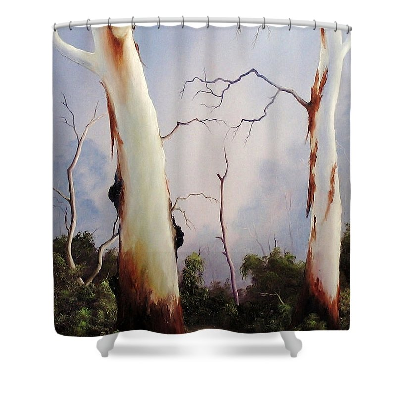 Gumtrees Shower Curtain featuring the painting Ghostgums by John Cocoris