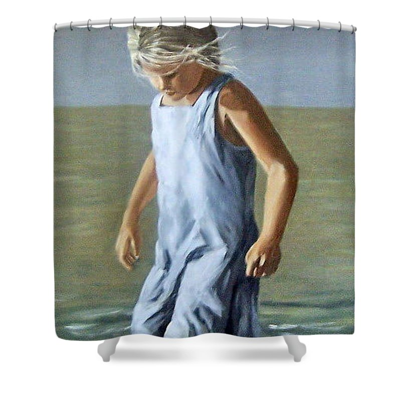 Girl Children Reflection Water Sea Figurative Portrait Shower Curtain featuring the painting Girl by Natalia Tejera