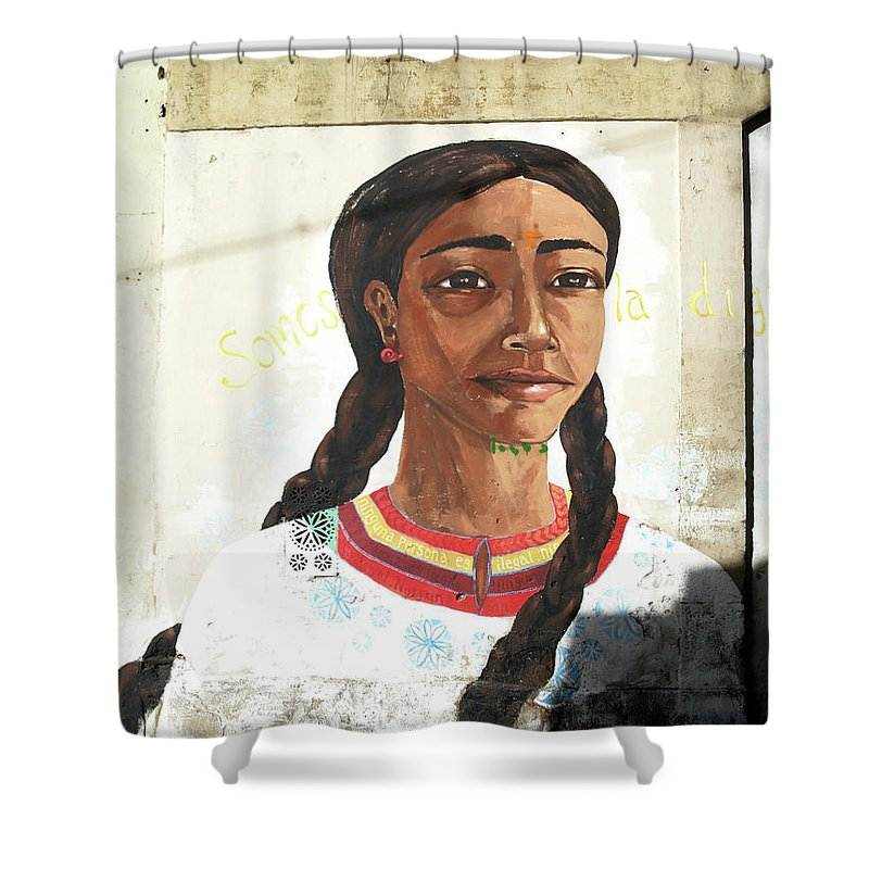 Graffiti Shower Curtain featuring the painting Girl by Roger Muntes