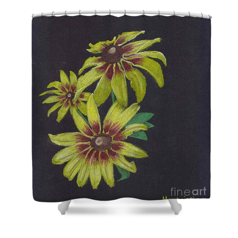 Daisy Shower Curtain featuring the pastel Gloriosa Daisy by Mendy Pedersen