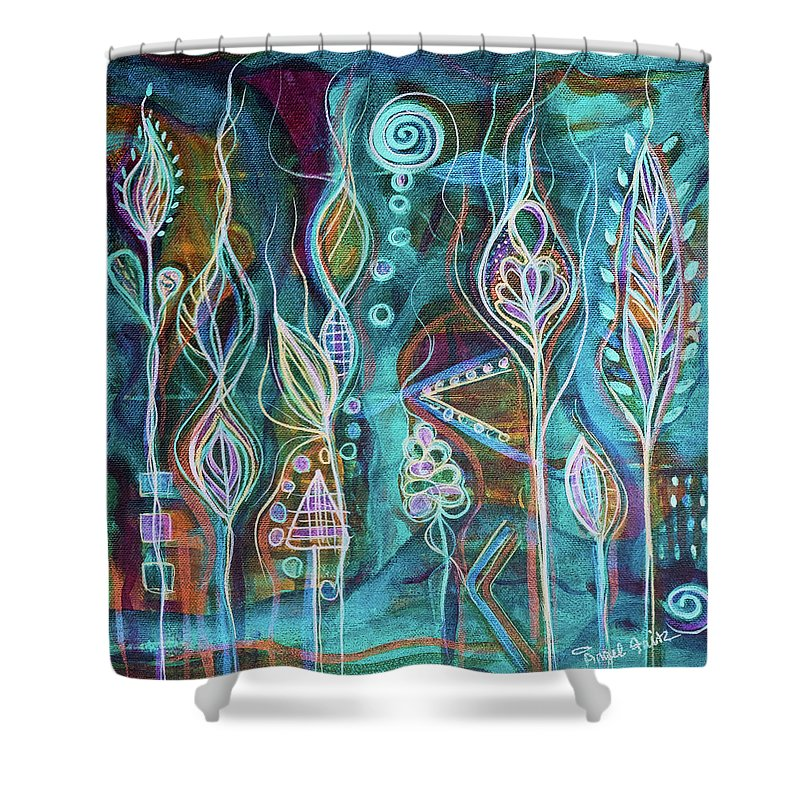 Intuitive Art Shower Curtain featuring the painting Glow by Angel Fritz