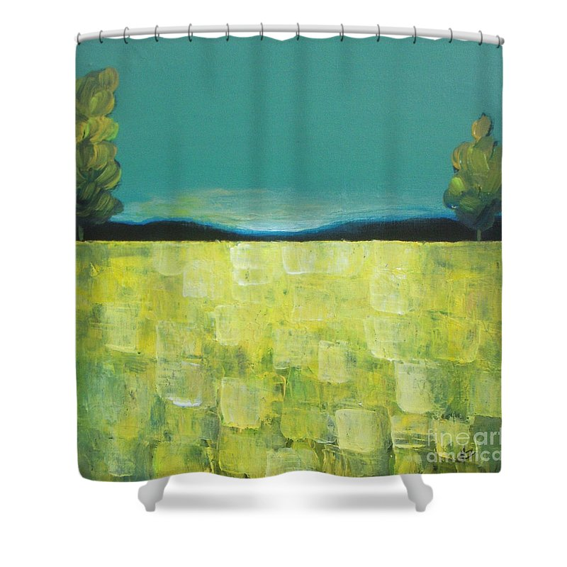 Abstract Shower Curtain featuring the painting Canola Field N04 by Vesna Antic