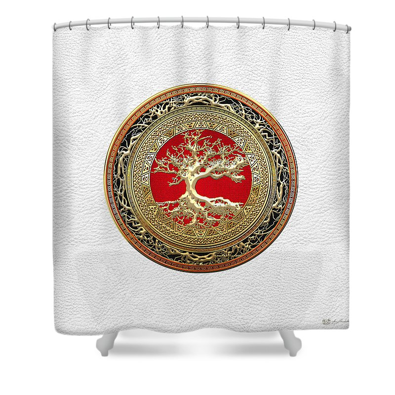 Treasure Trove By By Serge Averbukh Shower Curtain featuring the photograph Gold Celtic Tree of Life on White Leather by Serge Averbukh