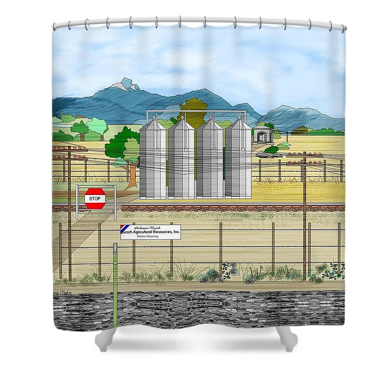 Wyoming Shower Curtain featuring the painting Grain Elevators At Ralston by Anne Norskog