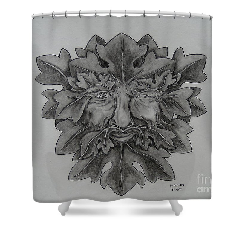 Green Man Shower Curtain featuring the drawing Green Man 3 by Deana Smith