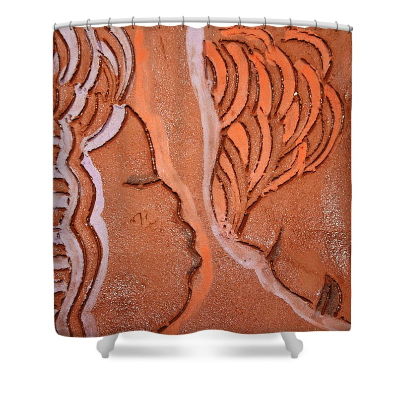 Jesus Shower Curtain featuring the ceramic art Greeting - Tile by Gloria Ssali