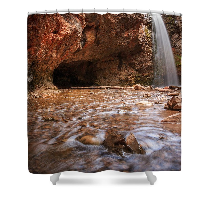 Trailsxposed Shower Curtain featuring the photograph Grotto Falls by Gina Herbert