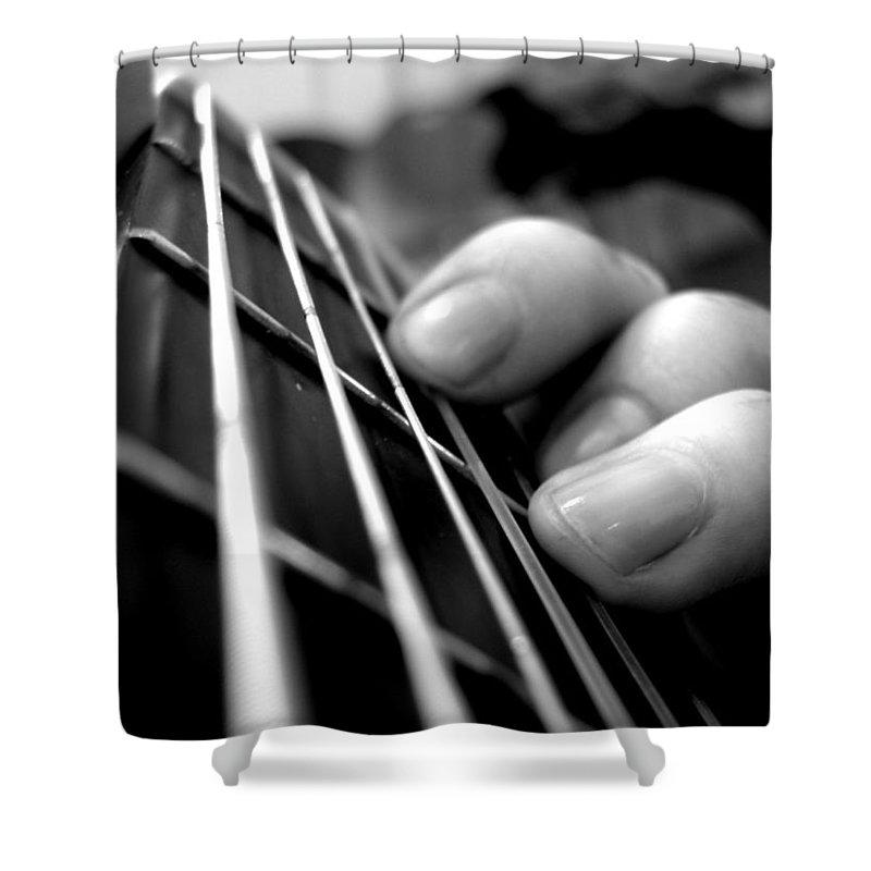 Guitar Shower Curtain featuring the digital art Guitar by Maye Loeser