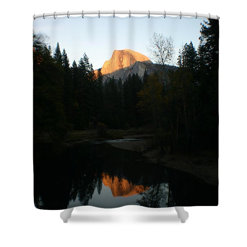 Half Dome Shower Curtain featuring the photograph Half Dome Sunset by Travis Day
