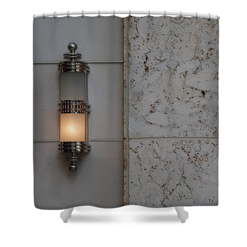 Sconce Shower Curtain featuring the photograph Half Lit Wall Sconce by Rob Hans