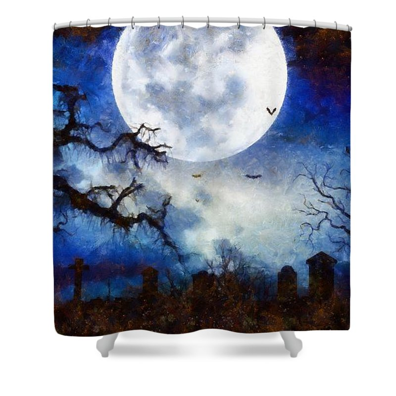 Fantasy Shower Curtain featuring the painting Halloween Horror Night by Sarah Kirk