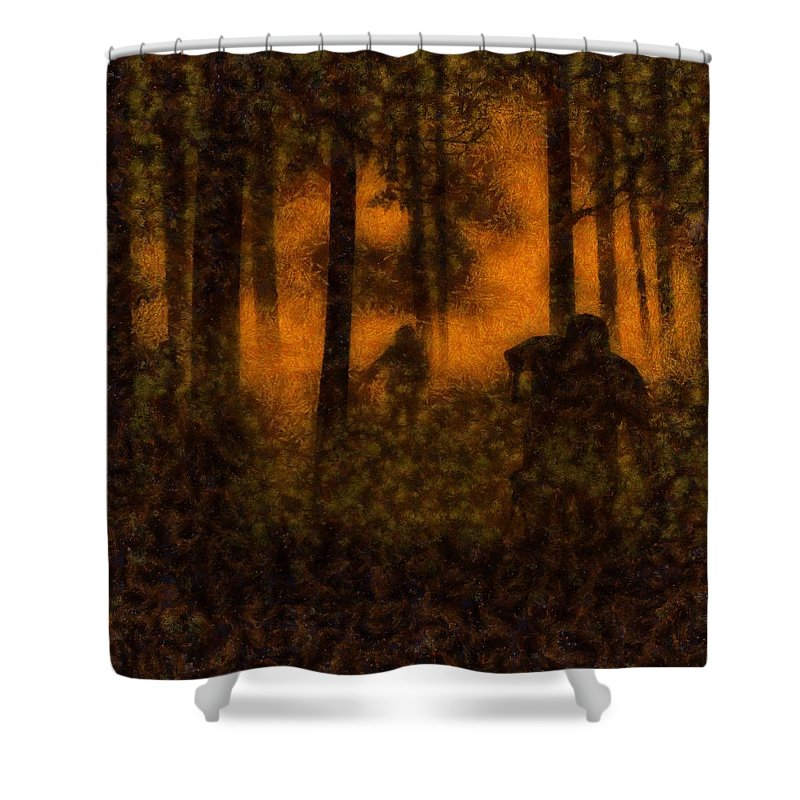 Fantasy Shower Curtain featuring the painting Halloween Horror Zombie Rampage by Sarah Kirk