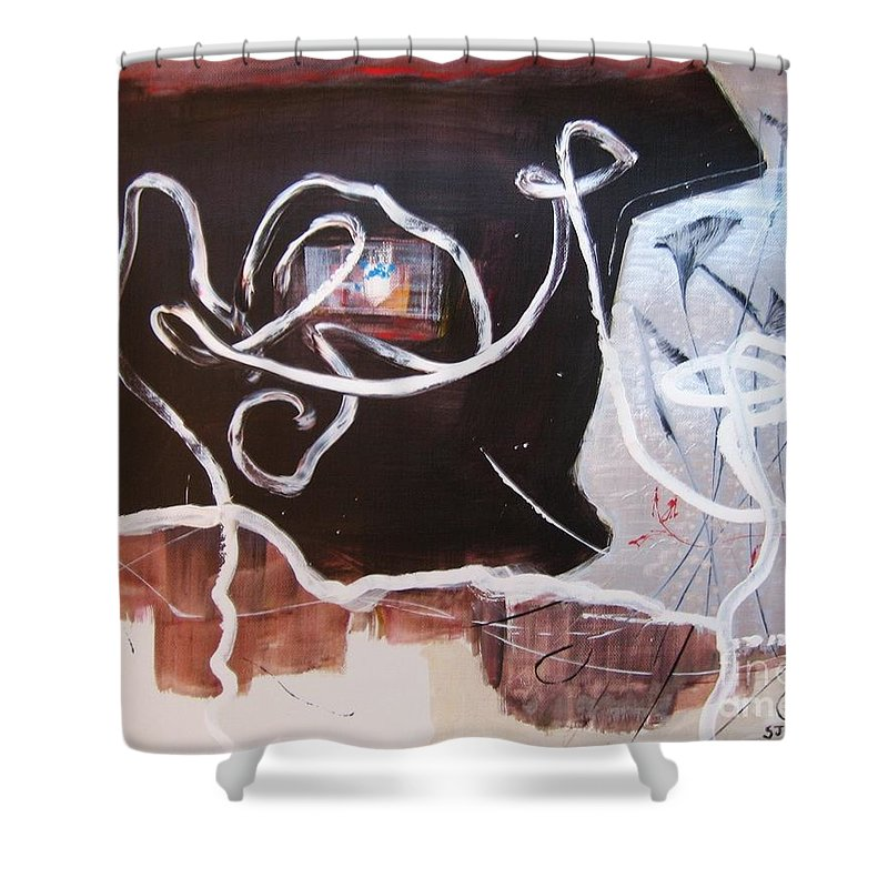 Abstract Paintings Shower Curtain featuring the painting Hand In Hand by Seon-Jeong Kim