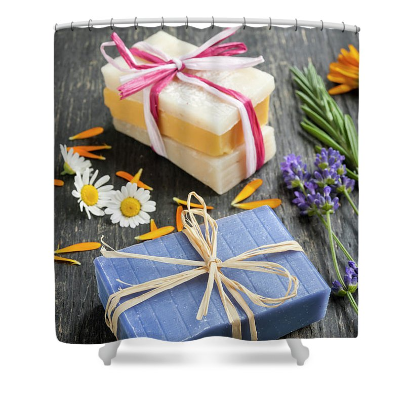 Soaps Shower Curtain featuring the photograph Handmade Soaps With Herbs by Elena Elisseeva