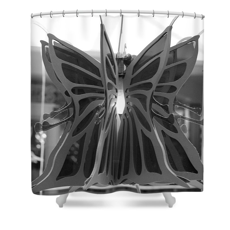 Black And White Shower Curtain featuring the photograph Hanging Butterfly by Rob Hans