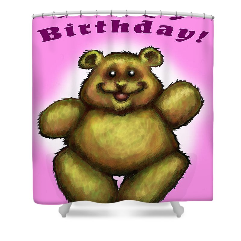Pink Shower Curtain featuring the greeting card Happy Birthday Bear by Kevin Middleton