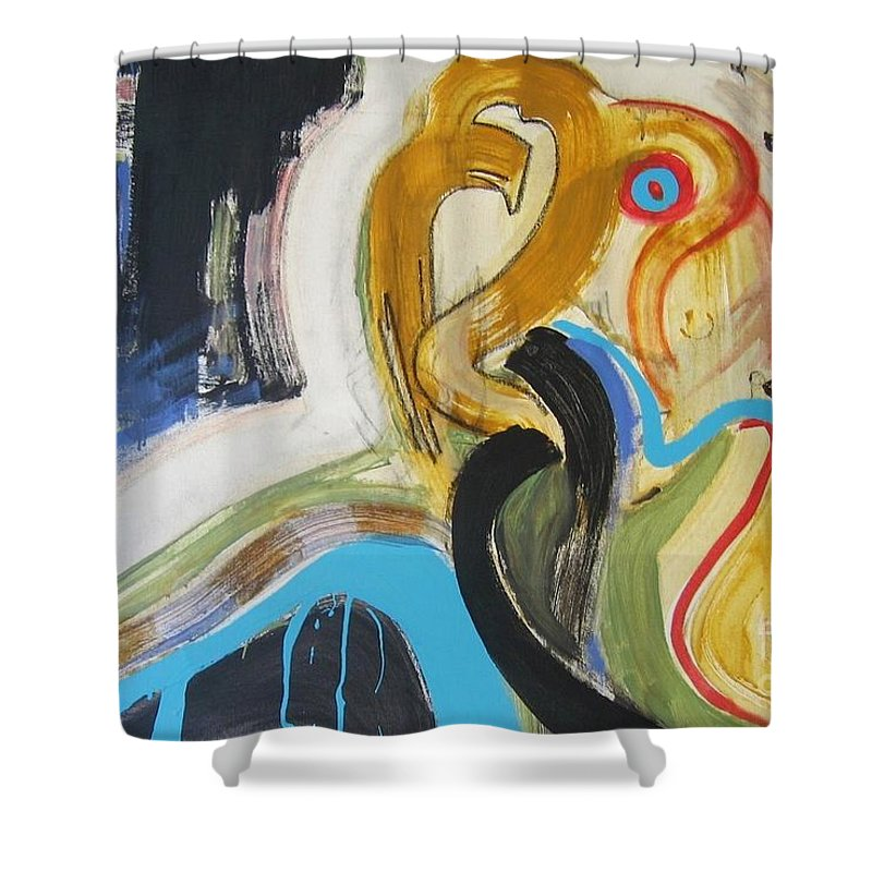Abstract Art Paintings Shower Curtain featuring the painting Hard To Escape by Seon-Jeong Kim