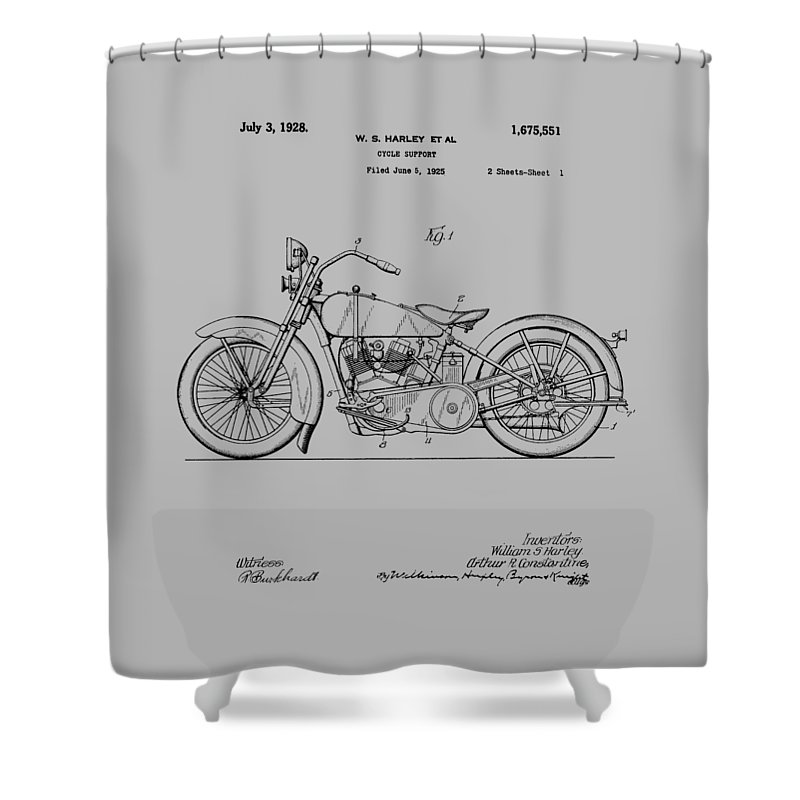 Harley Davidson Shower Curtain featuring the photograph Harley Davidson Motorcycle Patent 1925 by Chris Smith