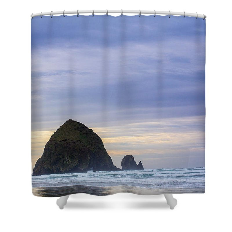 Cannon Beach Shower Curtain featuring the photograph Haystack Rock by Heather Raeburn