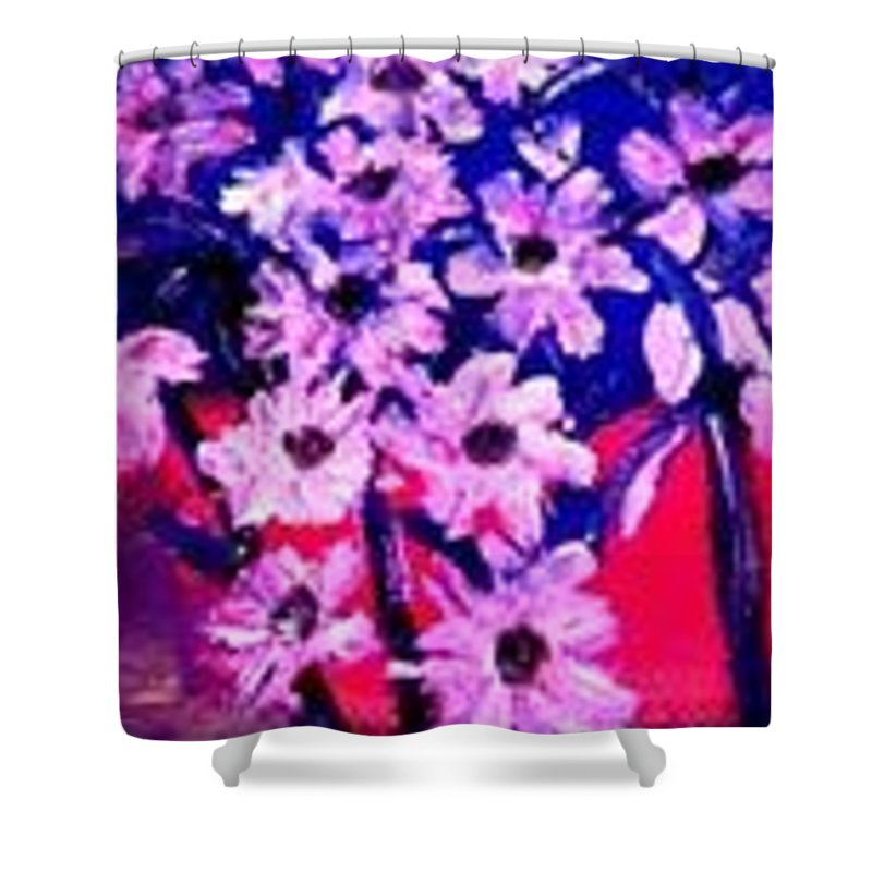 Flowers Shower Curtain featuring the painting Sunset With Flowers by Marilyn St-Pierre