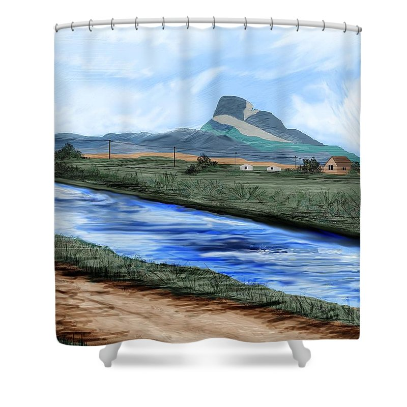 Heart Mountain Shower Curtain featuring the painting Heart Mountain And The Canal by Anne Norskog