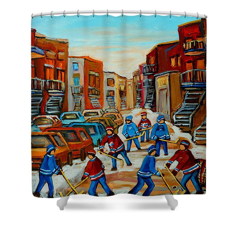 Heat Of The Game Shower Curtain featuring the painting Heat Of The Game by Carole Spandau