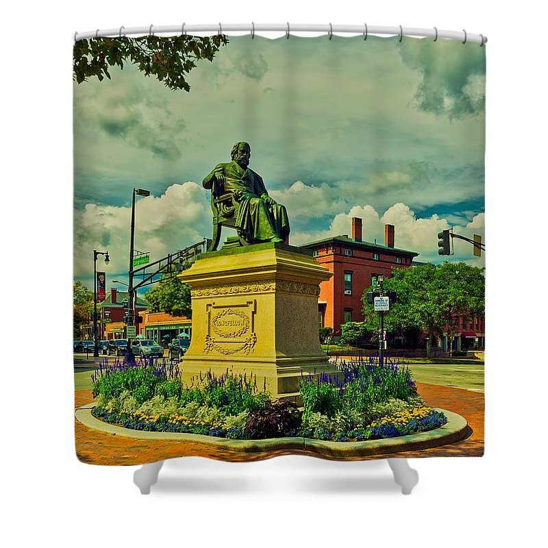 Henry Wadsworth Longfellow Shower Curtain featuring the photograph Henry Wadsworth Longfellow Monument - Portland, Maine by Library Of Congress