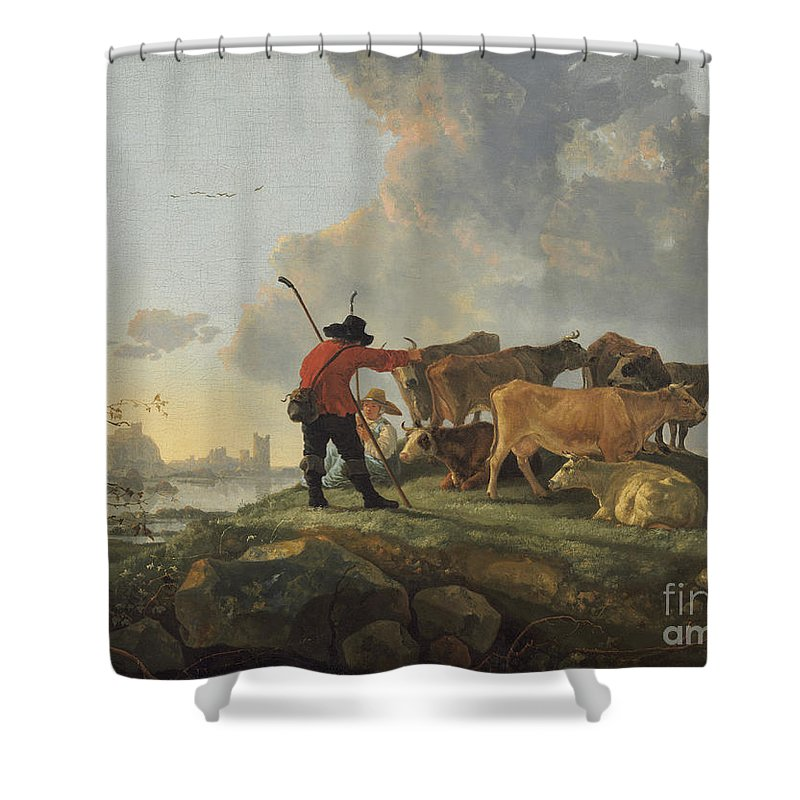 Shower Curtain featuring the painting Herdsmen Tending Cattle by Aelbert Cuyp