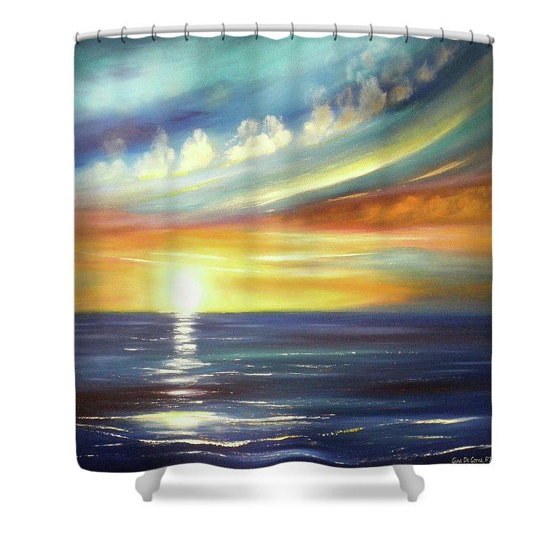 Sunset Shower Curtain featuring the painting Here It Goes - Square Sunset Painting by Gina De Gorna