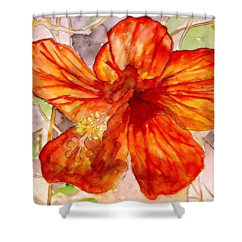 Hibiscus Shower Curtain featuring the painting Hibiscus 2 by Derek Mccrea