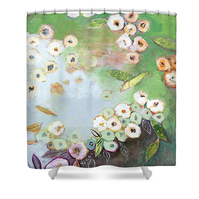 Pond Shower Curtain featuring the painting Hidden Lagoon Part I by Jennifer Lommers
