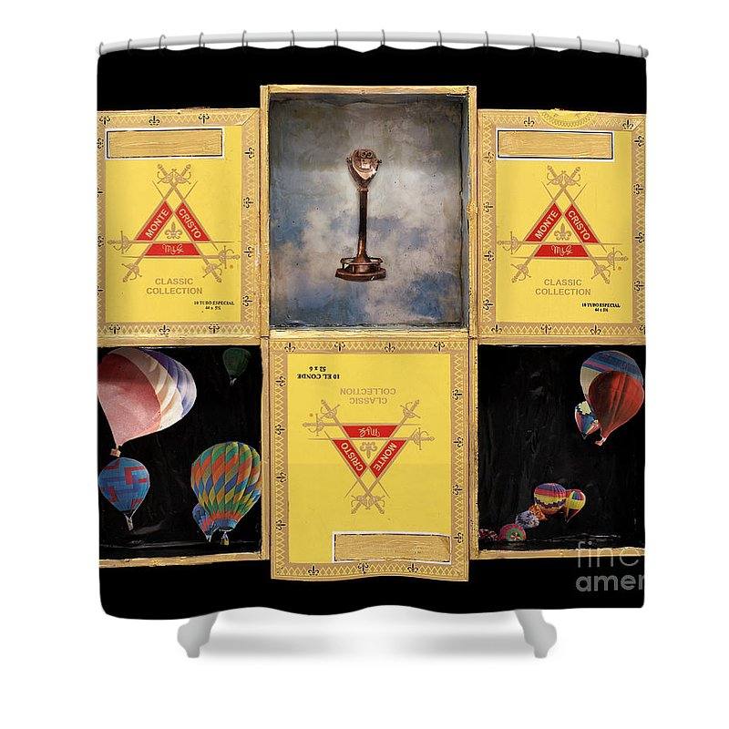 Cigar Boxes Shower Curtain featuring the mixed media High by Jaime Becker