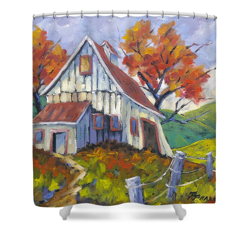 Hill Shower Curtain featuring the painting Hillsidebarn by Richard T Pranke