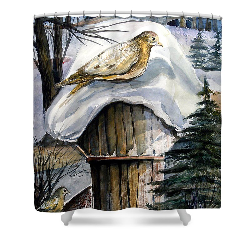 Bird Shower Curtain featuring the painting His Eye Is On The Sparrow by Mindy Newman