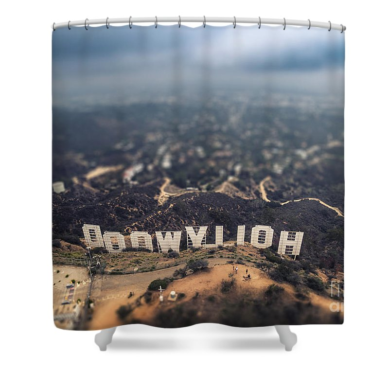 Hollywood Shower Curtain featuring the photograph Hollywood Sign by Konstantin Sutyagin