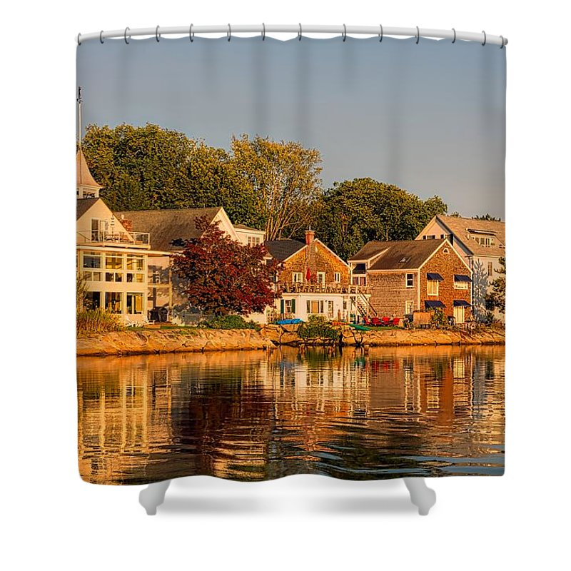 Kennebunkport Shower Curtain featuring the photograph Homes On Kennebunkport Harbor by Library Of Congress